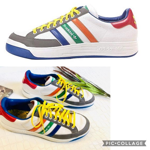 """Adidas """"Nastase"""" White Retro Leather Sneakers"""